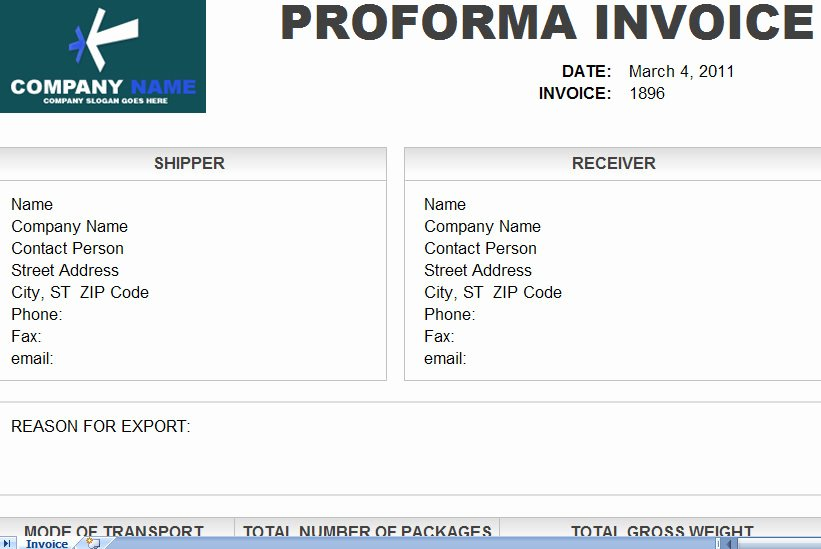 Downlodable Freeware Pro forma Invoice format