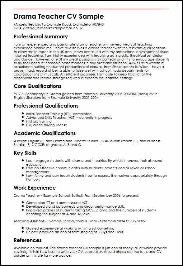 Drama Teacher Cv Sample