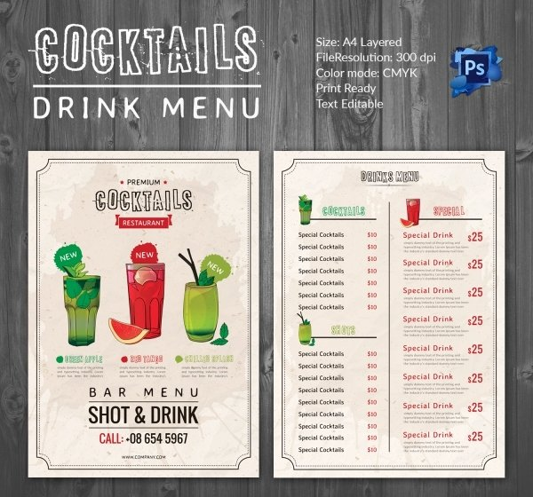 Drink Menu Template – 25 Free Psd Eps Documents Download