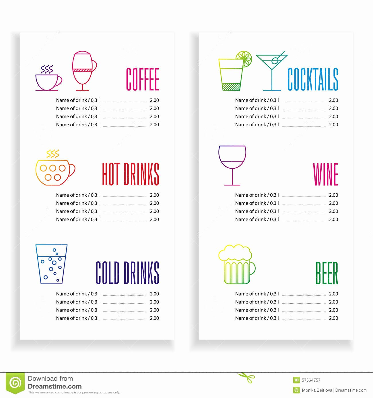 Drink Menu Template Stock Vector Illustration Of Drink