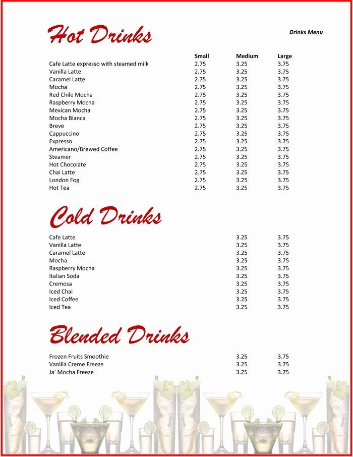 Drink Menu Templates Microsoft Word