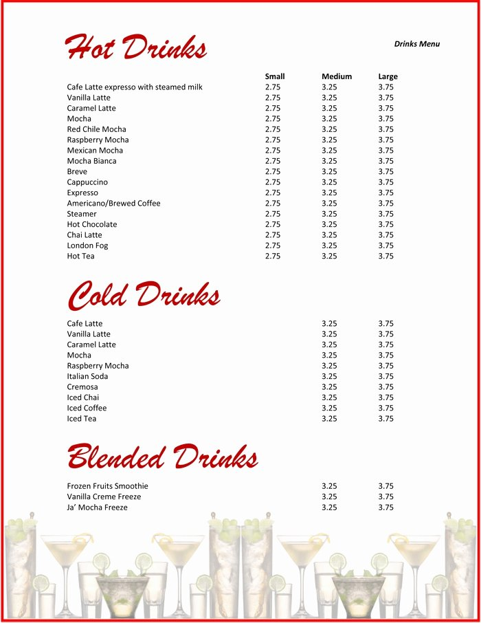 Drink Menu Templates Microsoft Word