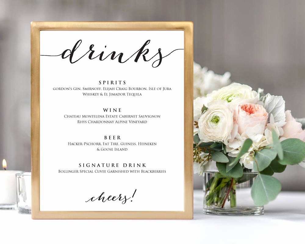 Drinks Menu Template · Wedding Templates and Printables