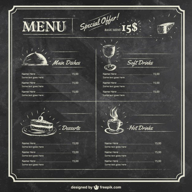 Drinks Menu Vectors S and Psd Files