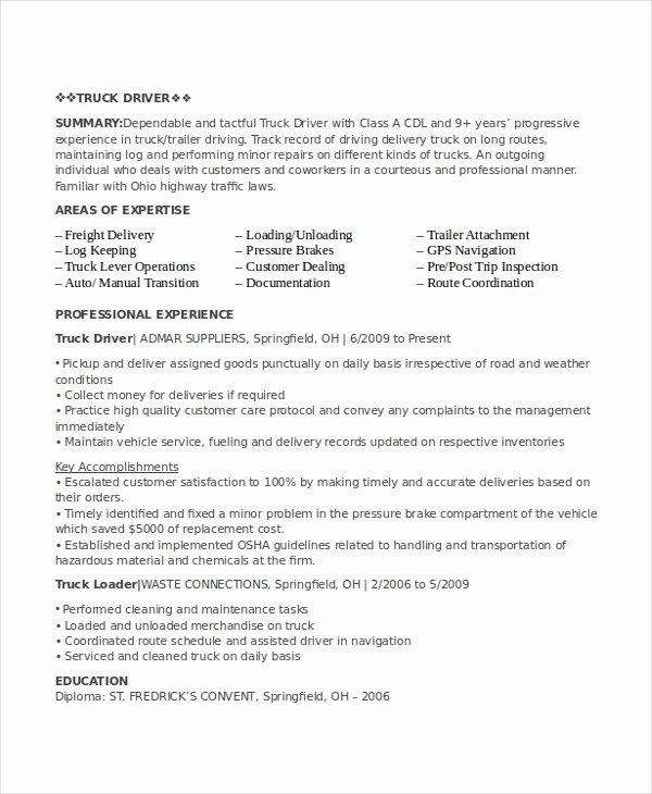 Driver Resume Examples
