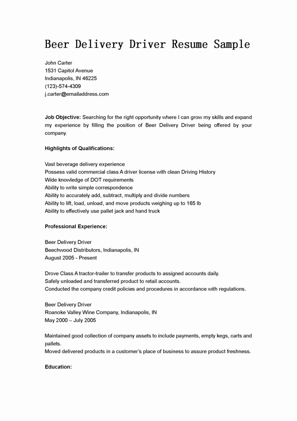 Driver Resume Sample Objective