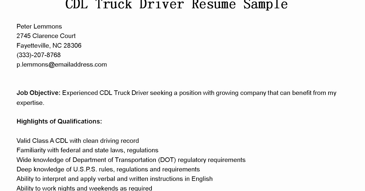 Driver Resumes Cdl Truck Driver Resume Sample