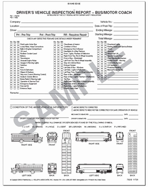 Driver S Vehicle Inspection Report for Bus & Motor Coach