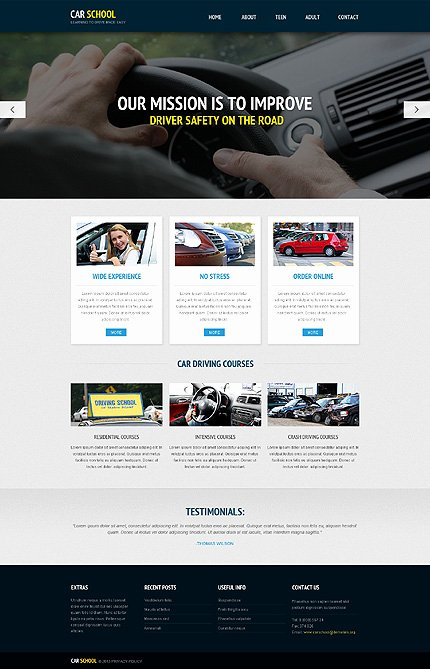 Driving School Responsive Website Template with Homepage