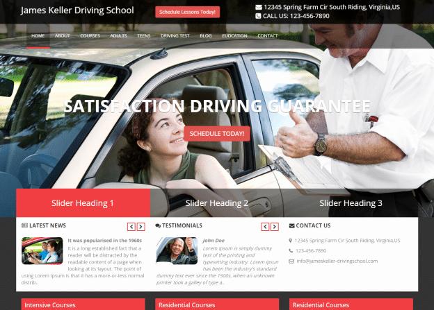Driving School Website Templates