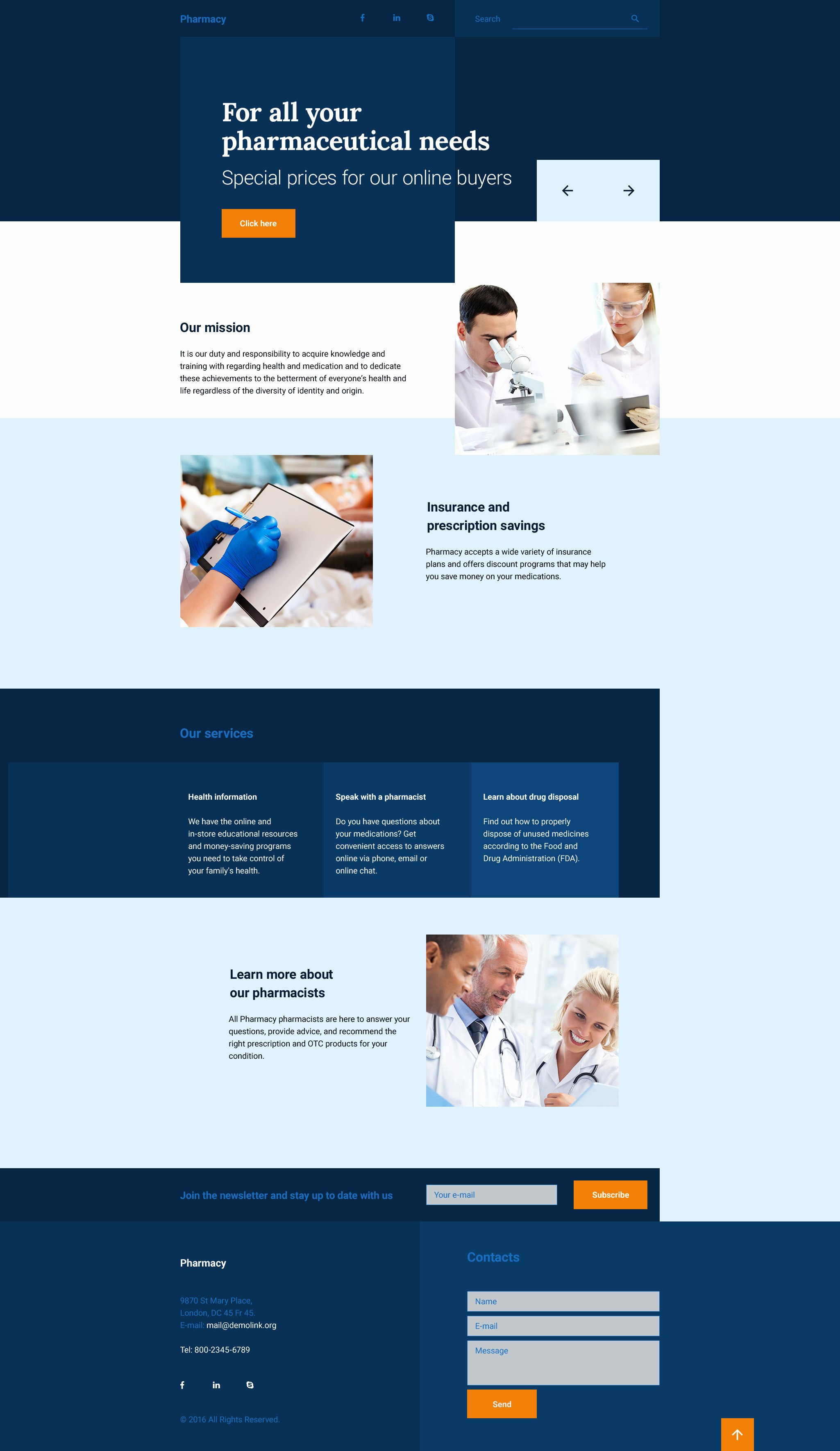 Drug Store Responsive Landing Page Template