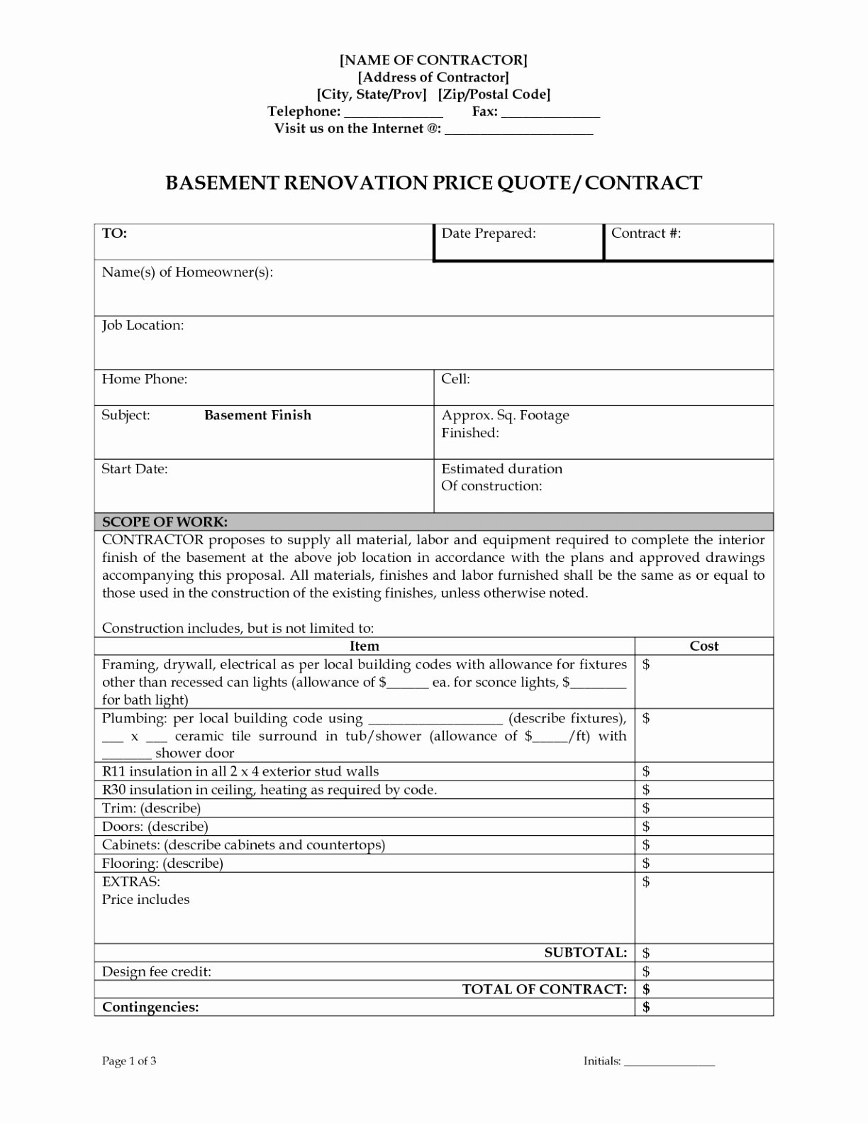 Drywall Quote Template Drywall Contract Template New