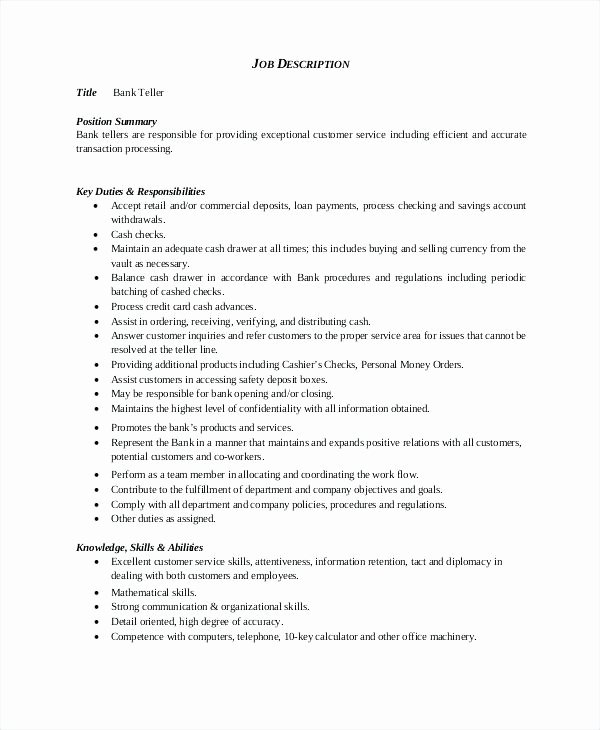 Duties A Teller for Resume Annecarolynbird