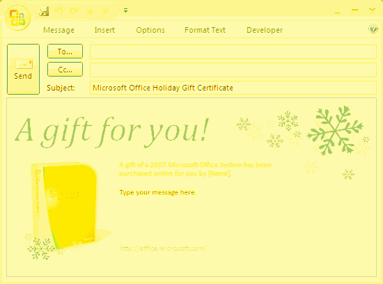 E Mail Message Microsoft Fice Gift Certificate Free