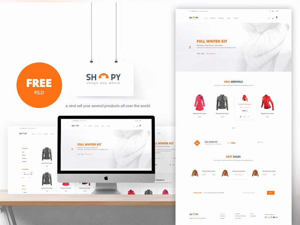 E Merce Shopping Website Template Free Psd Download