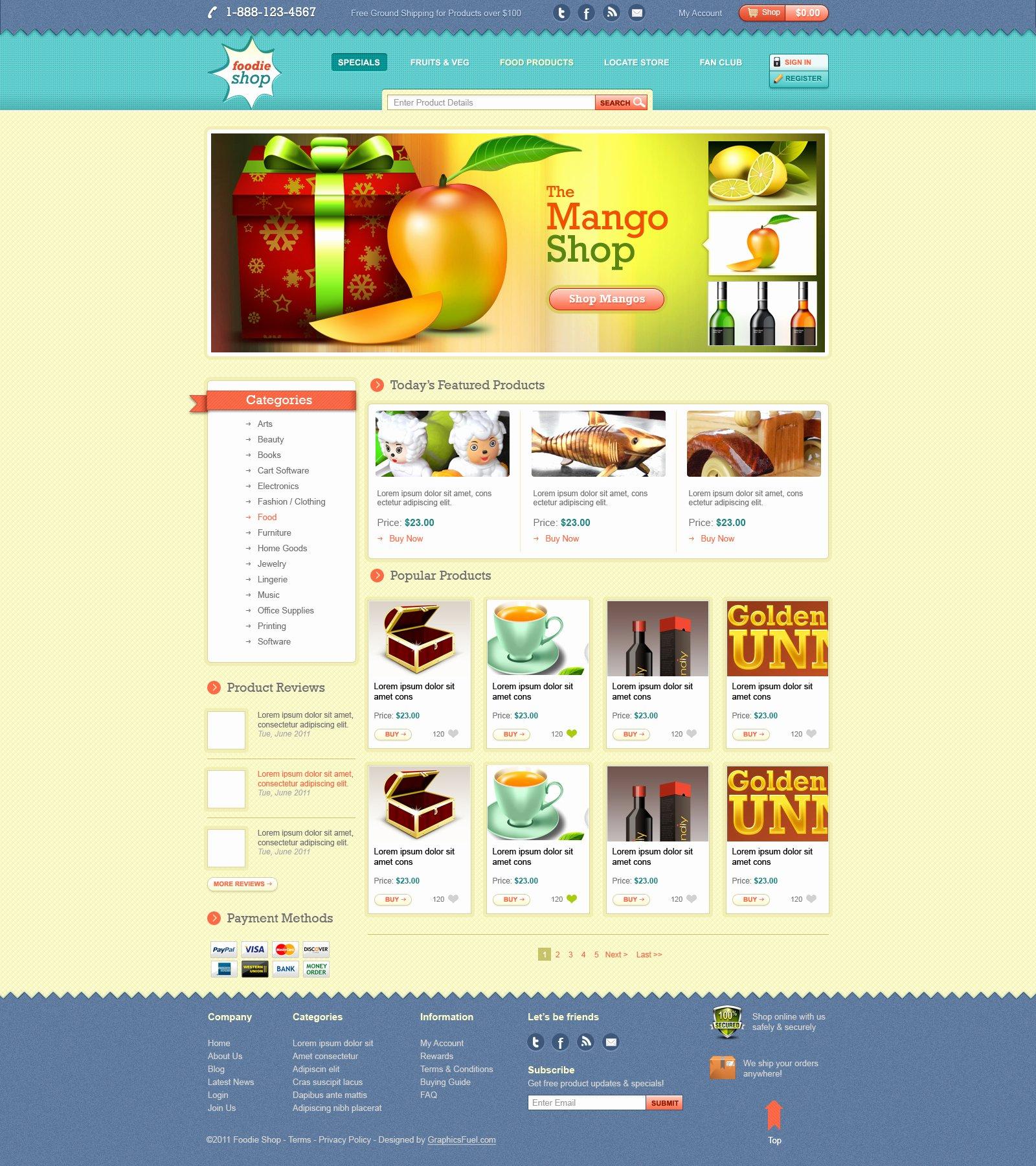 E Merce Website Template Design Psd Graphicsfuel