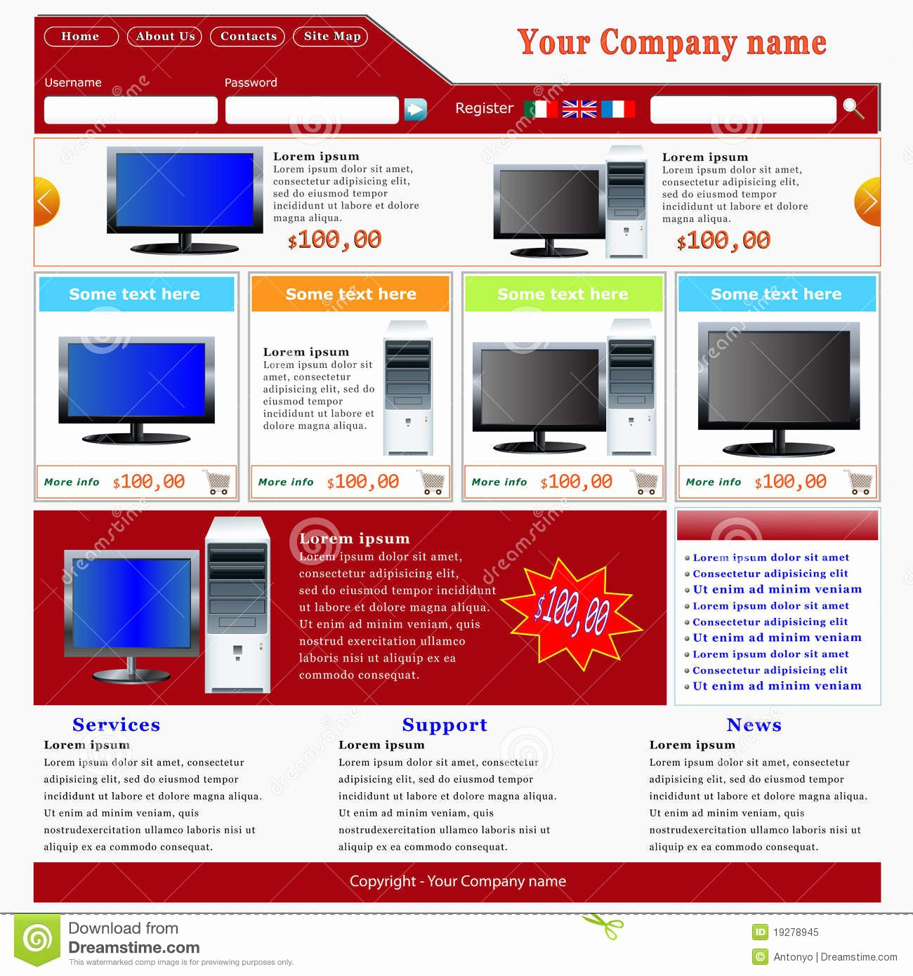 E Merce Website Template Royalty Free Stock