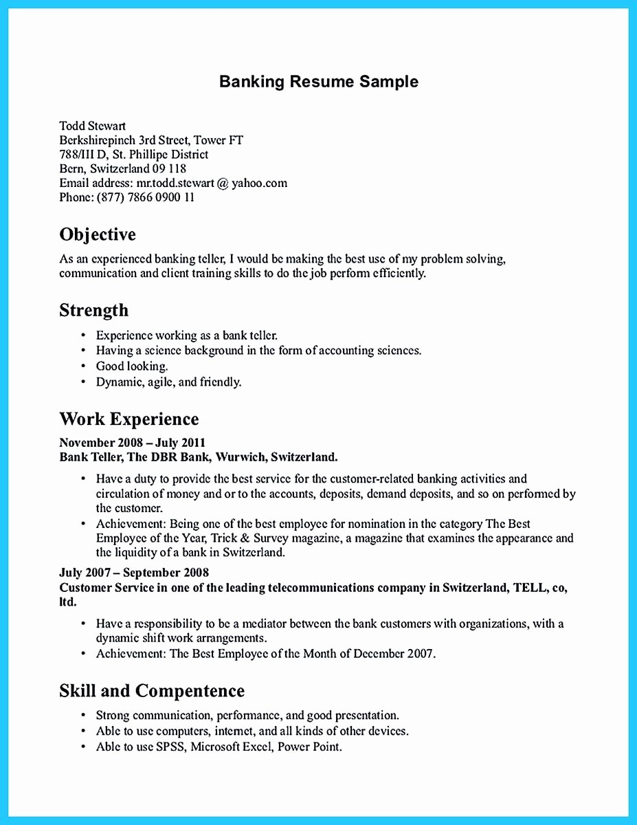 E Of Re Mended Banking Resume Examples to Learn