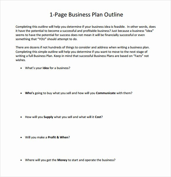 E Page Business Plan Template