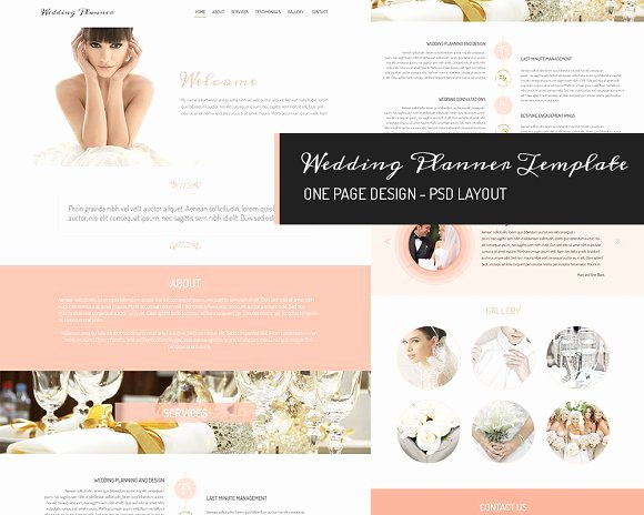 E Page Design Wedding Planner Website Templates