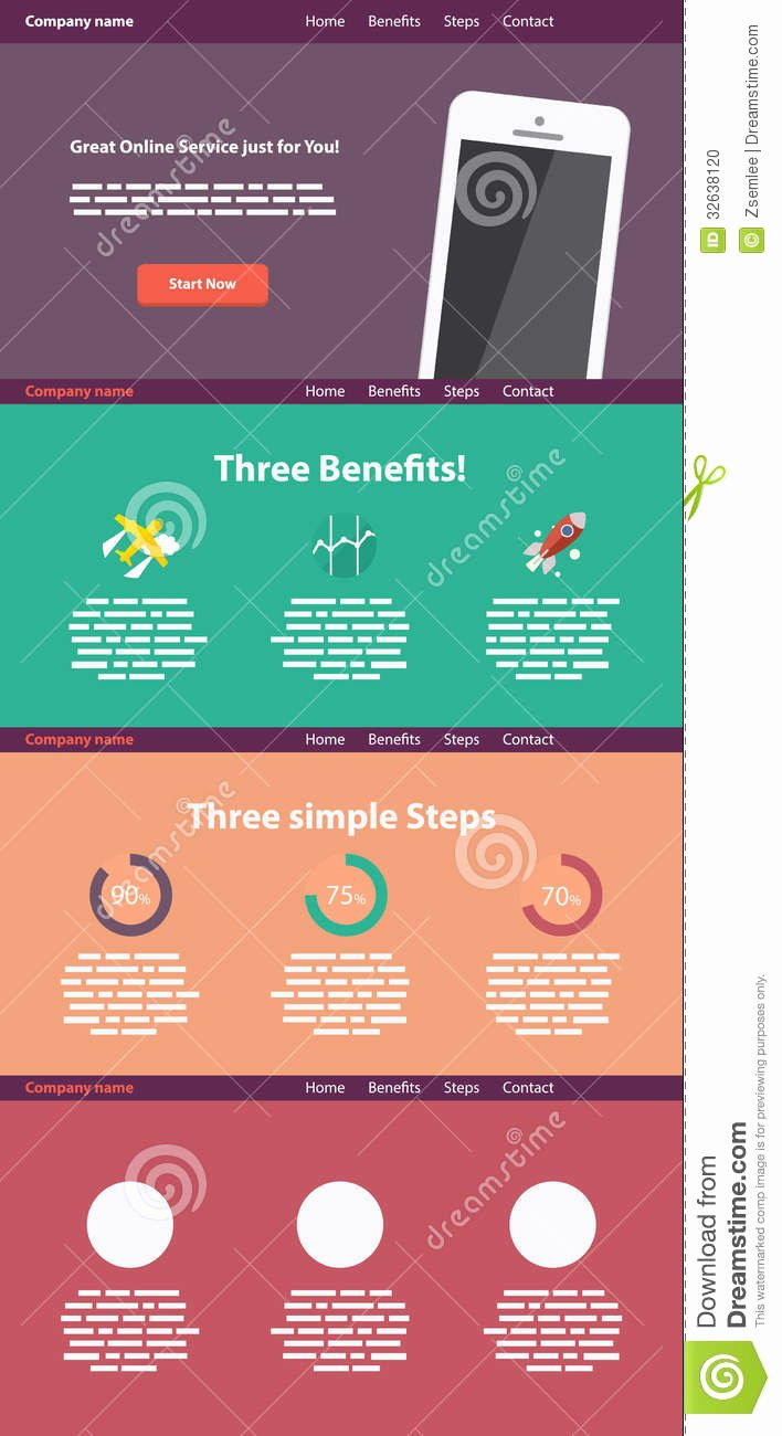 E Page Flat Style Website Template Stock Image
