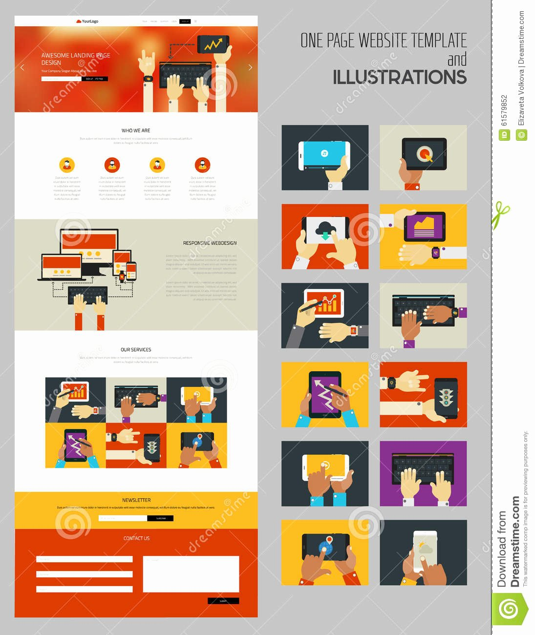 E Page Mock Up with Illustrations Stock Vector Image