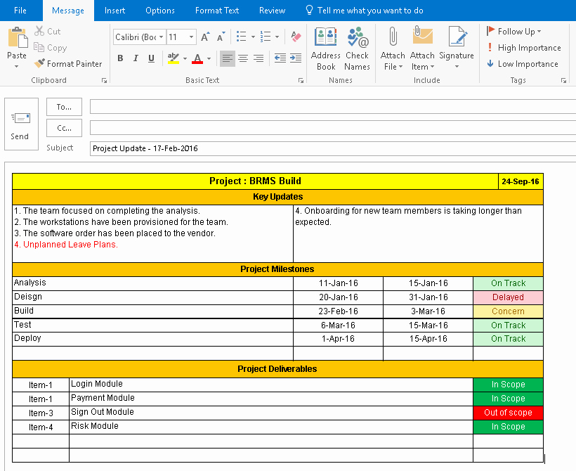 E Page Project Status Report Template A Weekly Status