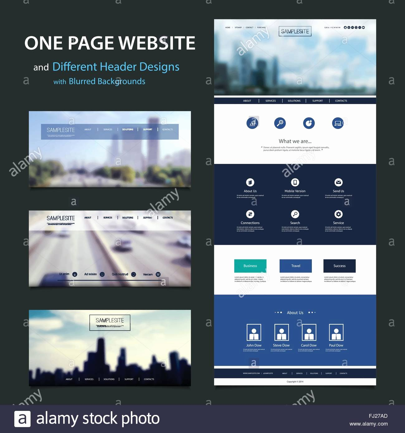 E Page Responsive Website Template with Different Header