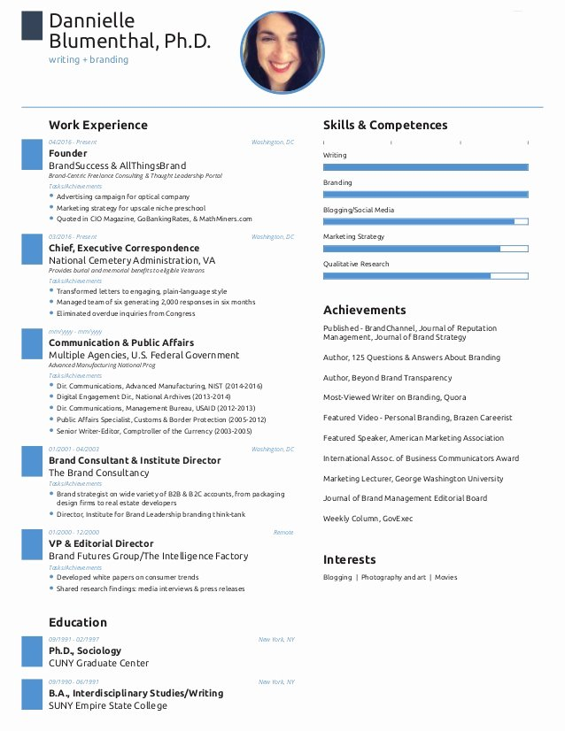E Page Resume Created with Free Novoresume Template