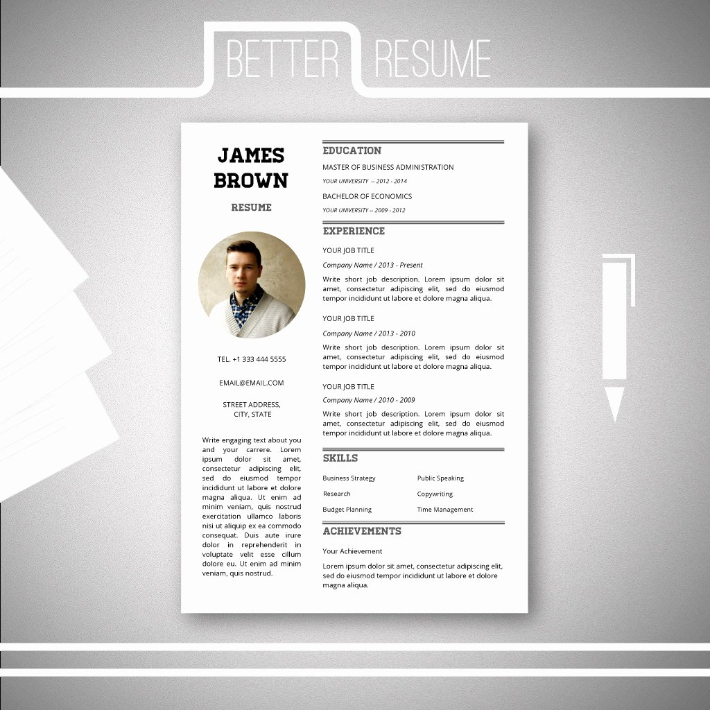 E Page Resume Template Cover Letter Template for Microsoft