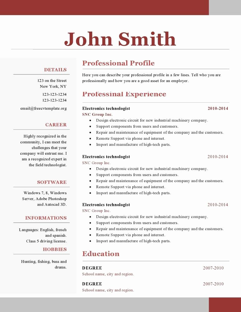 E Page Resume Template Free Download