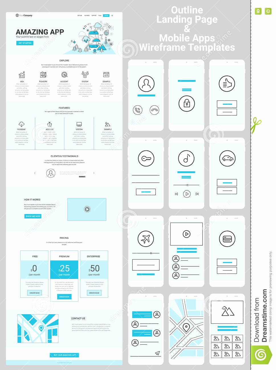 E Page Website and Mobile Apps Wireframe Kit Stock