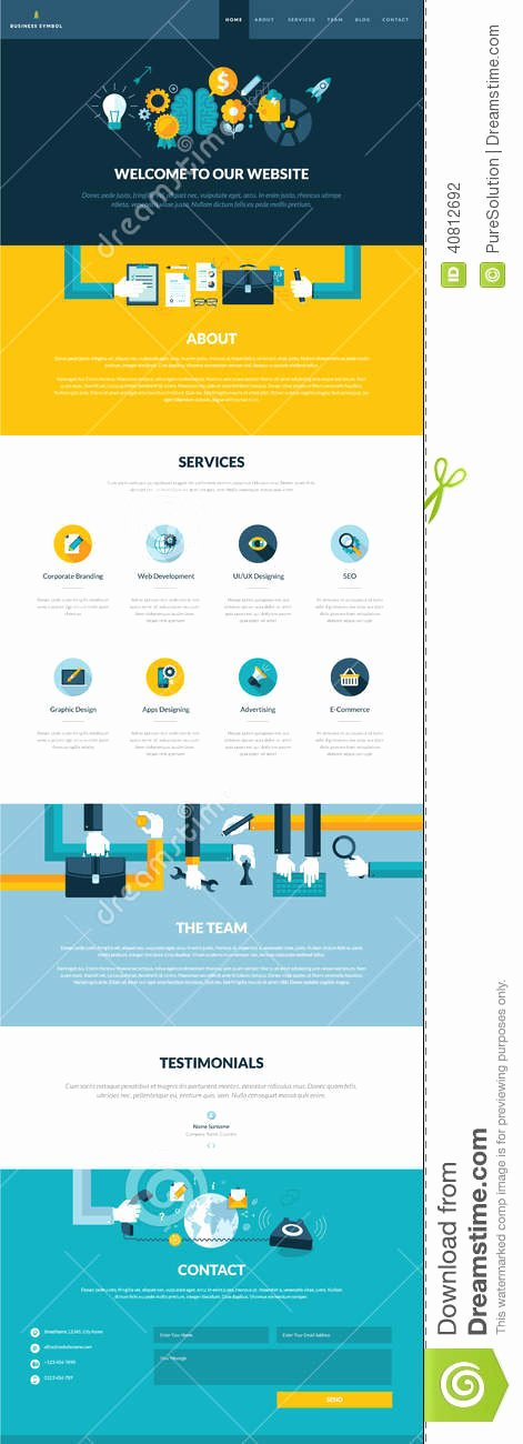 E Page Website Design Template In Flat Design St Stock