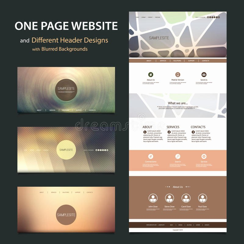 E Page Website Template and Different Header Designs