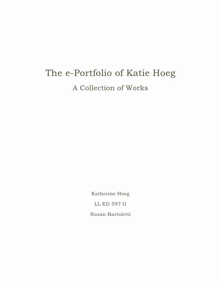 E Portfolio Title Page