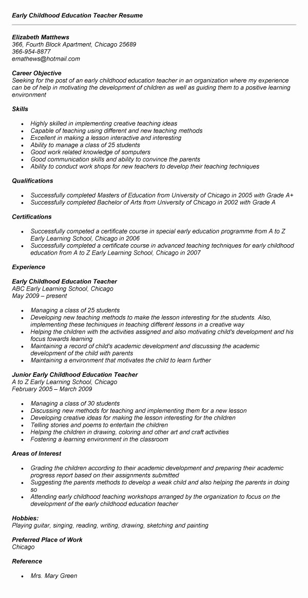 Early Childhood Education Resume Recent Grad – Job Resume