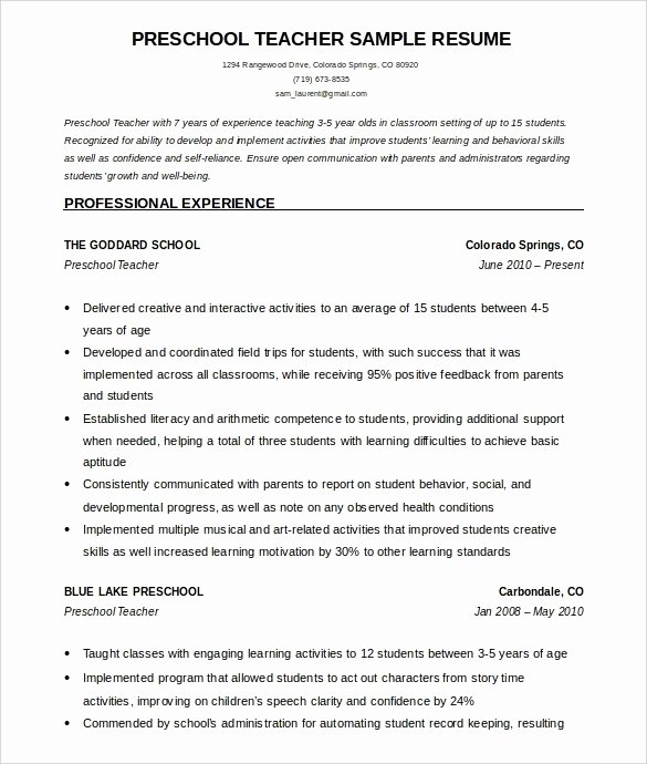 Early Childhood Resume Objective Folo Latter Example Template