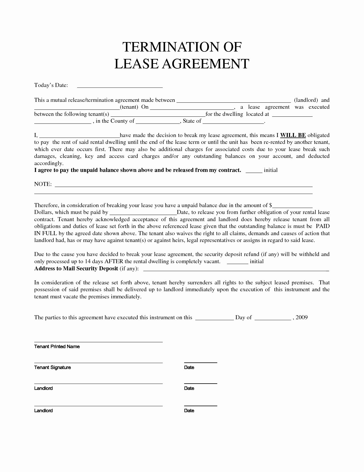 Early Termination Lease Agreement Template Templates
