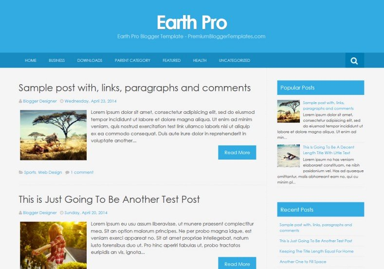 Earth Pro Simple Blogger Template • Templates 2018