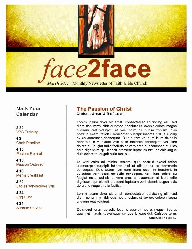 Easter Season Church Newsletter Template Template