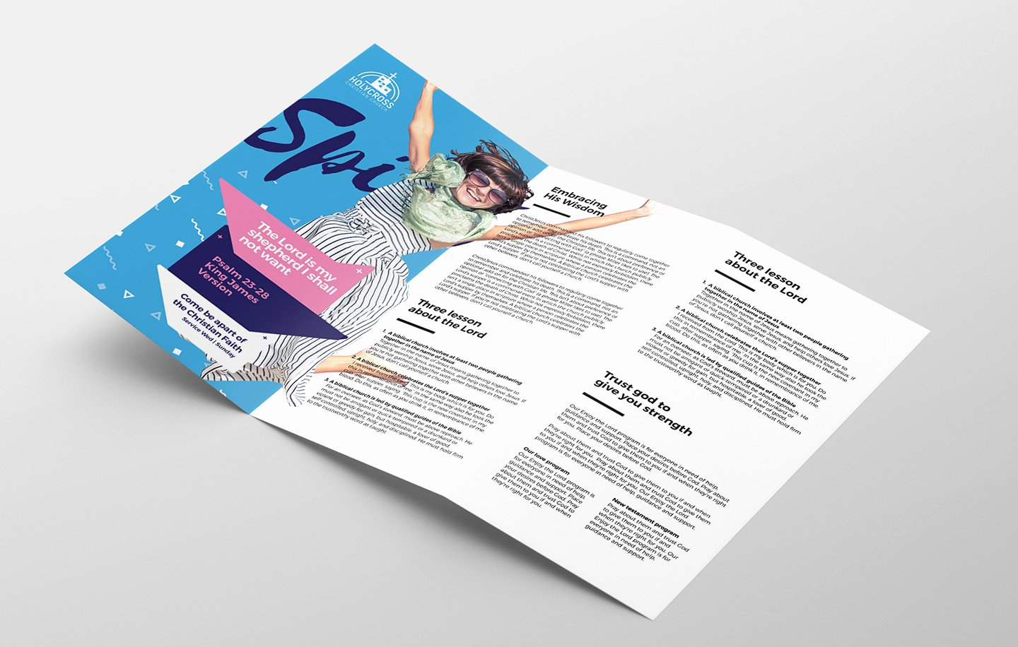 Easter Service Tri Fold Brochure Template In Psd Ai