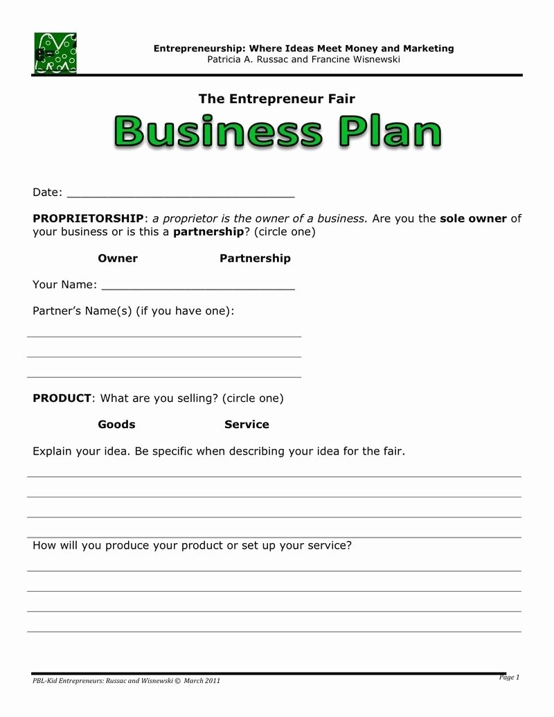 Easy Business Plan Template Beepmunk