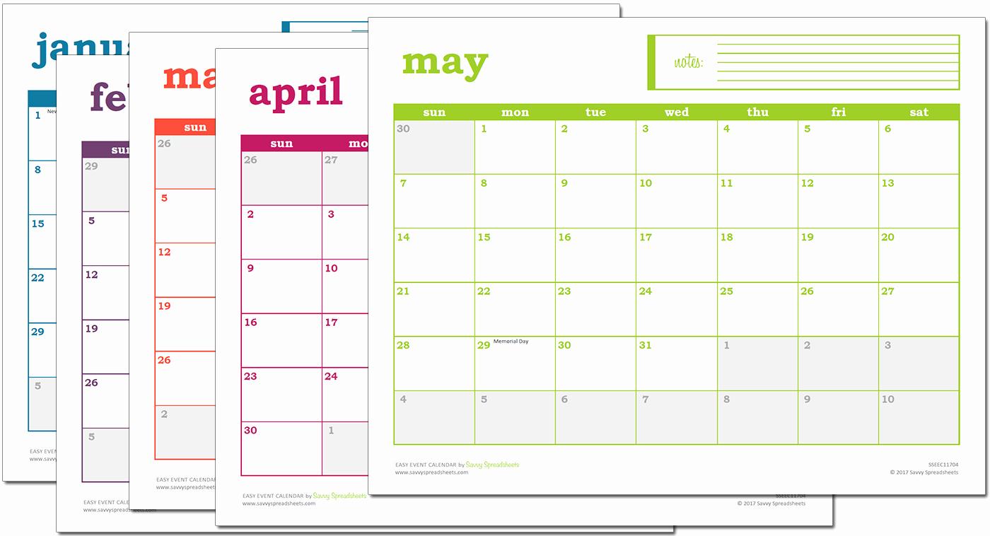 Easy Excel Calendar Excel Template Savvy Spreadsheets