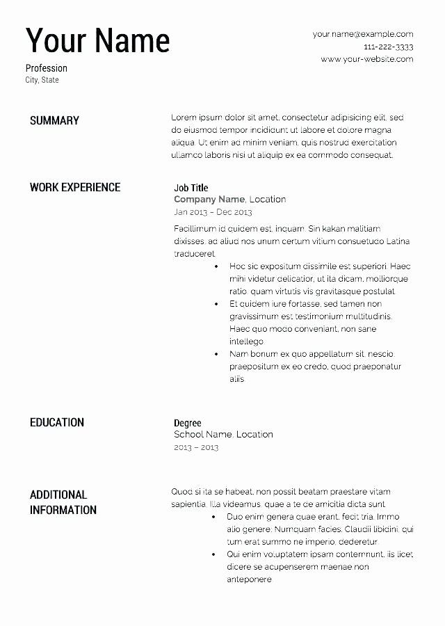 Easy Free Resume Template Step by Step Resume Builder for