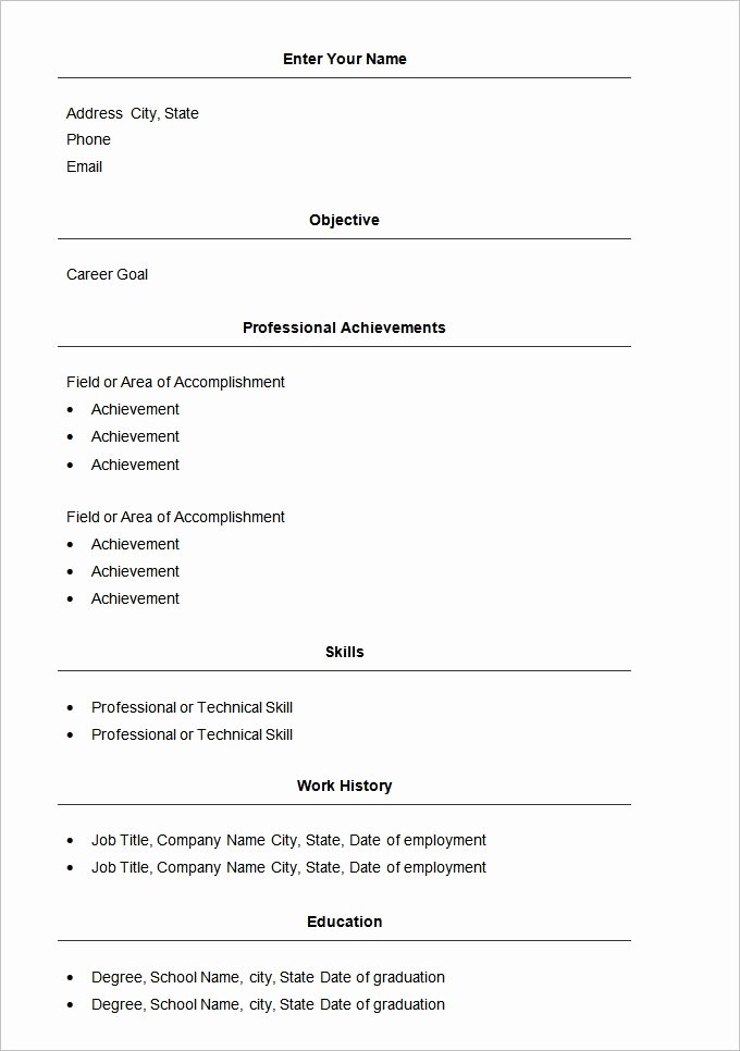 Easy Resume Template Free