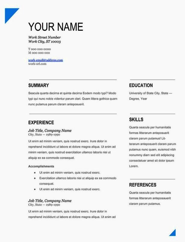 Easy Resume Templates with Fill In the Blanks