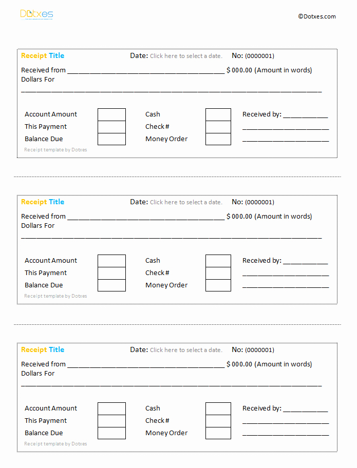 Easy to Use Cash Receipt Template Like the Rent Receipt