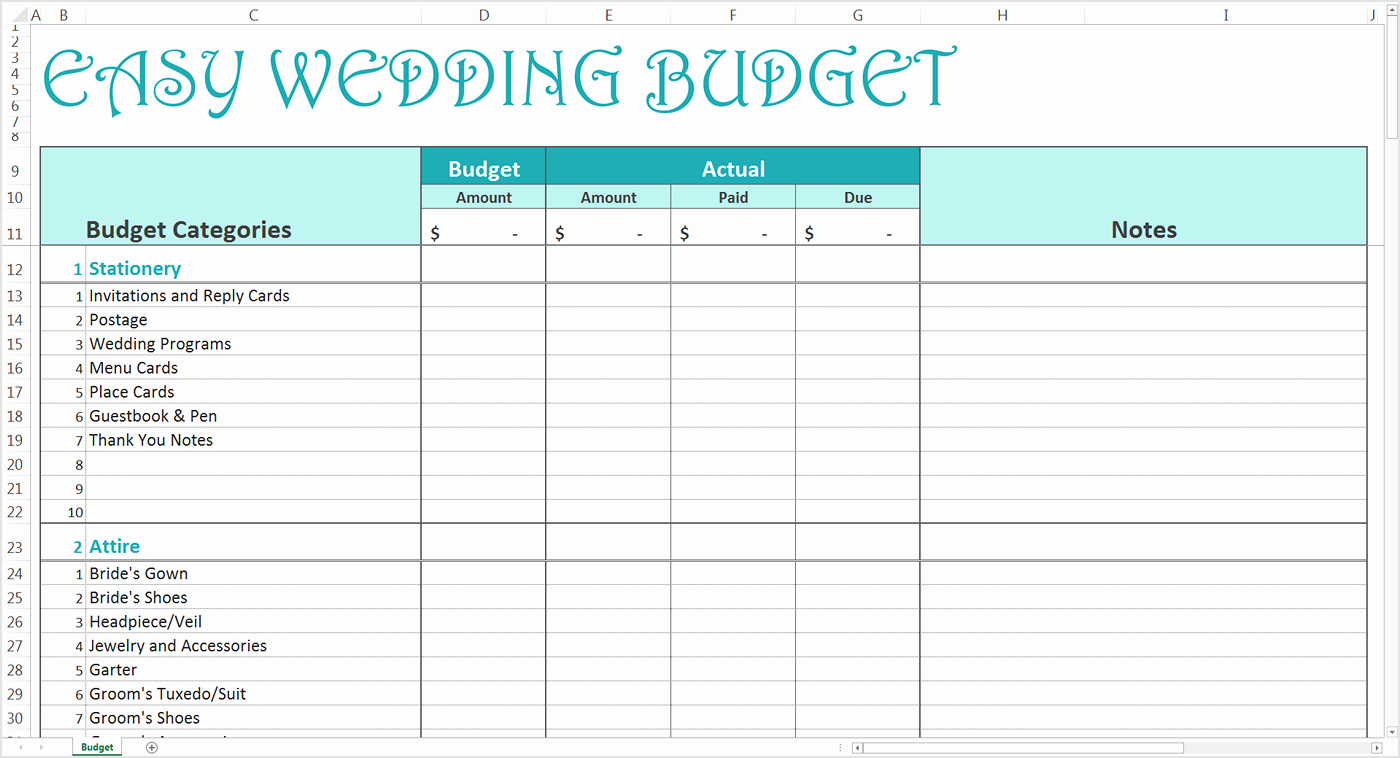 Easy Wedding Bud Excel Template Savvy Spreadsheets