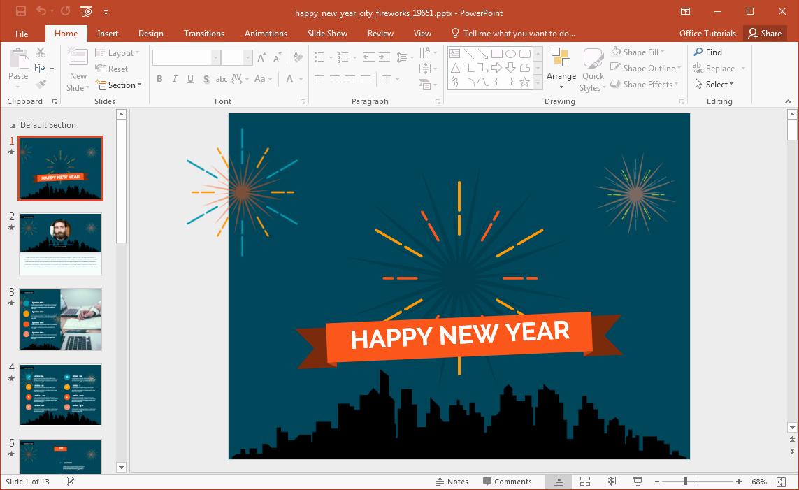 애니메이션 새해 복 많이 받으세요시 불꽃 놀이 파워 포인트 템플릿