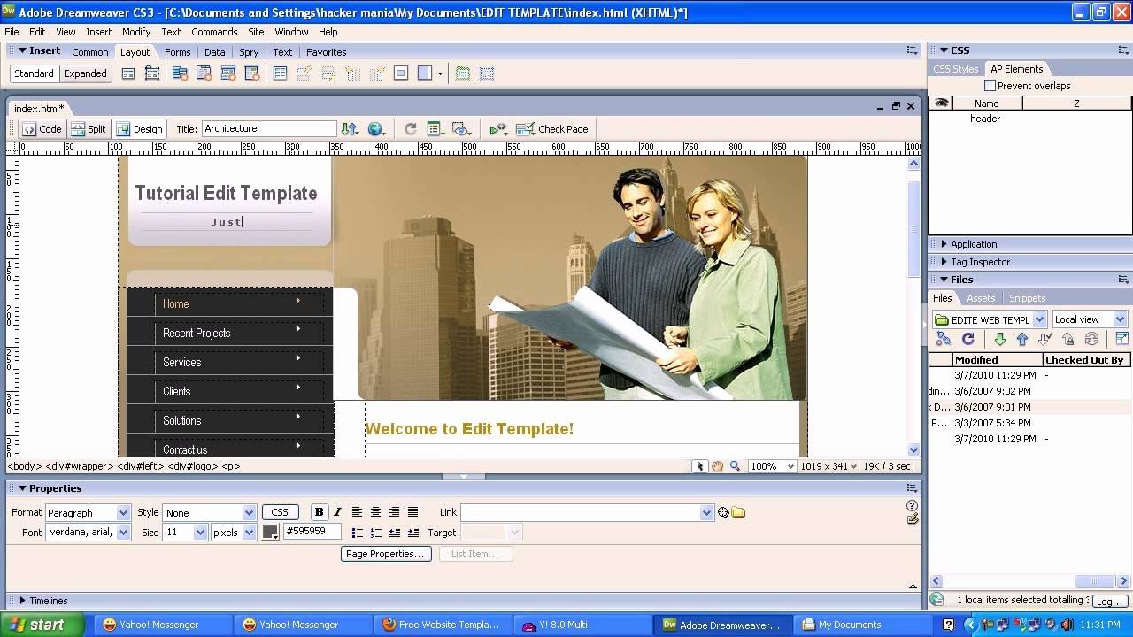 Edit Web Template with Adobe Dreamweaver Cs3